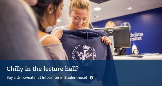 Student holding a Uni sweater in front of her. Photo: Niklas Björling